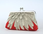 Chrysanthemum Clutch on Red (choose your color) With Silk Lining, bridesmaid clutch, bridesmaid gift