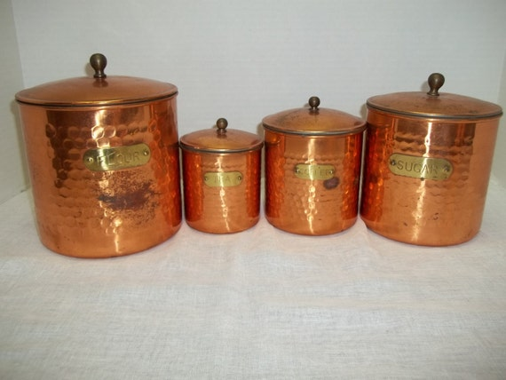 vintage set hammered copper and brass kitchen canisters