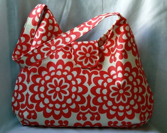 Hobo Bag - Amy Butler Wallflower Cherry Red and Cream Floral Purse