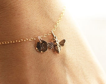 Gold Initial Charm Bracelet, Honey Bee Bracelet - Custom Personalized Jewelry - Hand Stamped, 14k Gold Fill - Dainty Everyday Bracelet