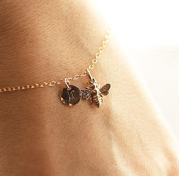 Gold initial charm bracelet honey bee bracelet custom like this item mozeypictures Images
