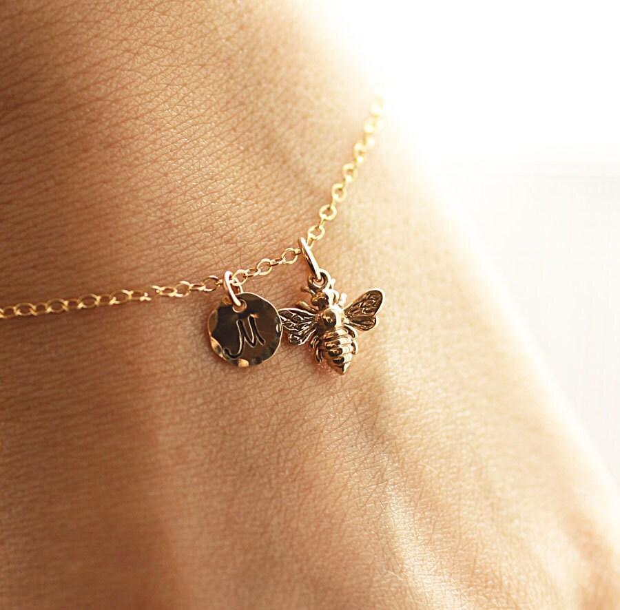 Initial Charm Bracelets: Gold Initial Charm Bracelet Honey Bee Bracelet Custom