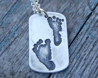Little Piggy Custom Footprint Silver Dog Tag Necklace