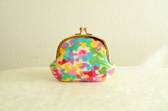 Frame purse - Abstract pastel color Coin purse in mint green -colorful-