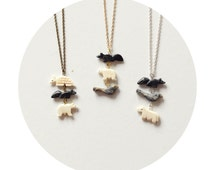SALE // Animal Stacking Necklace // Vintage Stone Hand-Carved Animal Beads // Re-Purposed Jewelry // Bear, Fox, Bird, Horse // One of a Kind