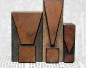 Antique letterpress exclamation points - the collection measures 1 and 3/4 inches by about 1 and 3/4 inches - wood
