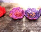 Flower Shaped Crochet Coasters, set of 4