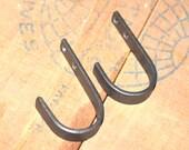 Set of 2 Hand Forged Iron Flat Bar Hooks by VinTin
