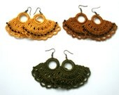Crochet lace fan-shaped earrings - Africa dream 3 colours choice - cotton 100%  - Toho beads - Handmade in France