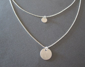 Silver Disc Double Chain Necklace