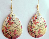 Gold and Peach Tree and Bird Earrings