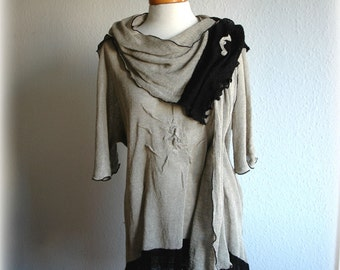 Grey Black Asymmetrical Tunic Dress Linen Knitted and Scarf  With Appliques Eco Friendly Clothing Natural Plus   Size