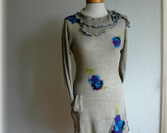 Linen Knitted Natural Tunic with Felt Flower Application Finished With Ornamental Stitch in Blue fiber Art Eco Friendly clothing