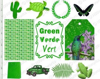 GREEN Stuff - Things Green, Objects, aceo atc, hummingbird, tag, frog, sea turtle, fern, recycle symbol, Verde, Vert, INSTANT DOWNLOAD
