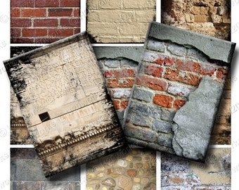 Brick Walls, ACEO Digital Backgrounds, Grunge Walls, Steampunk Brick Backgrounds, Industrial Backgrounds, Stone Walls, INSTANT DOWNLOAD