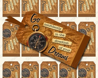 Compass, Direction, Dreams - Digital Gift Tags - Steampunk, Rust, Brown, Aged Handwriting, Neutral, Whimsy, GRADUATION, Encouragement
