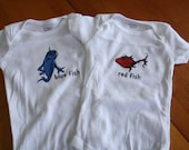 Red Fish, Blue Fish - Dr. Seuss Themed Onsies - Screen Printed - Perfect for TWINS or any little Seuss Fans
