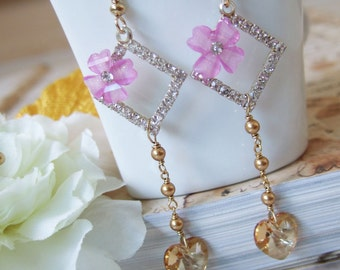 Swarovski Crystal/ Pearl Gold and Purple Lilac Bridal Earrings - Dainty Hearts