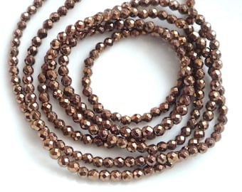 3 mm  Copper coated hematite faceted  round beads,  FULL STRAND, copper hematite