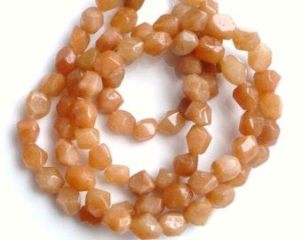 Peach Aventurine nugget beads, 7-10mm, full strand