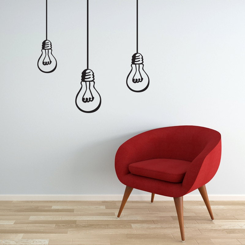 Wall Decal Bulbs hanging lights bulb decal vinyl by EllyStudio