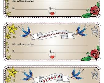 Free printable reiki gift certificate joy studio design for Tattoo gift certificate template