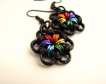 True Colors Rainbow Pride Flower Chainmaille Earrings