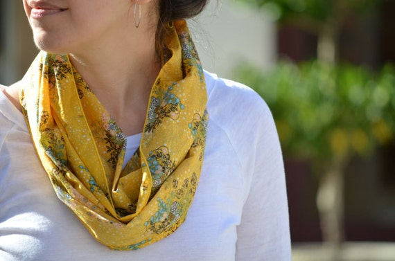 Infinity Scarf in Mustard - infinity loop gold yellow saffron flowers lightweight womens neckwear extra long wrap