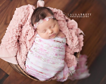 Leighton Heritage Newborn Ruffle Stretch Wraps Soft Swaddle Cocoon Photography Posing Prop Available in a Variety of Colors