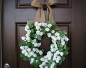 Year Round White Blooms and  Greenery Wreath with Burlap Bow, Spring Burlap Wreath, Summer Wreath