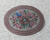 Miniature Oval Braided Rug With Birds Nest One Twelfth Scale