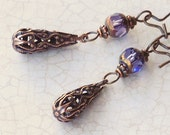 Cora Crawley Copper Filigree Drop Earrings