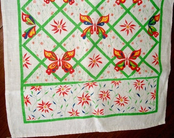 VINTAGE Linen Towel/Runner, Orange/Red, Lime Green, Yellow & Navy, Butterflies Flowers Trellis, Bright Colors, Kitchen Kitch