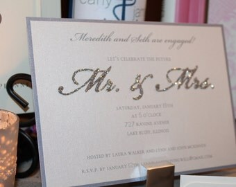Mr. & Mrs. - Set of 25 Custom Printed Engagement Party, Couples Shower or Rehearsal Dinner Invitations with Envelopes