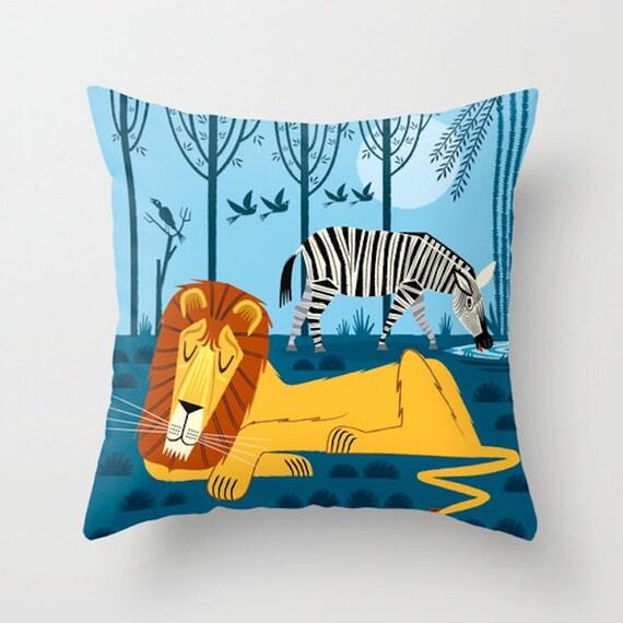 "Whilst the Lion Sleeps -  Cushion Cover / Throw Pillow (16"" x 16"") iOTA iLLUSTRATION"