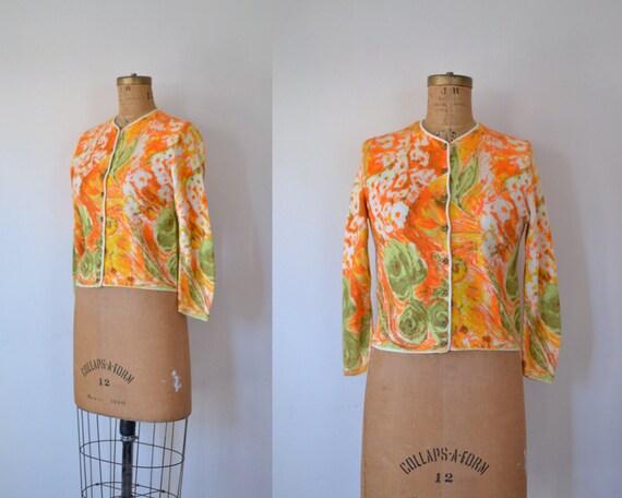 1960s Orlon Cardigan / 60s Orange Floral Cardigan