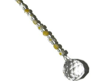 SunCatcher Crystal 20mm Ornament Yellow Flowers Rainbows and Feng Shui