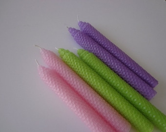 Pink, Purple, and Lime green Beeswax Candles