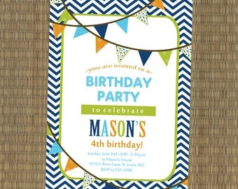 Camping Birthday Party Invitation Woodland Boy's Camping