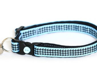 Houndstooth Cat Collar - Baby Blue - Small Cat / Kitten Size or Large Size Collar