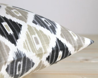 Grey and Beige Ikat Pillow Cover - 18 Inch Ikat Cushion Cover Pillow Sham - Ikat Diamond Neutral