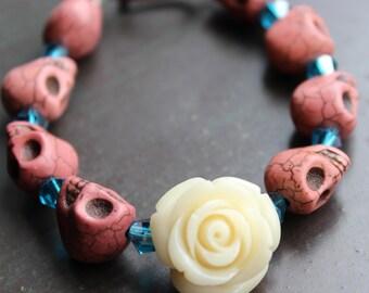 Sugar Skull and Ivory Rose Bracelet