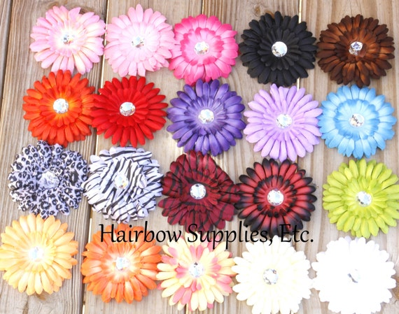 100 Large Gerber Daisy Flowers 4 inch with 22 mm Rhinestone Center- Wholesale Lot - YOU Pick Colors