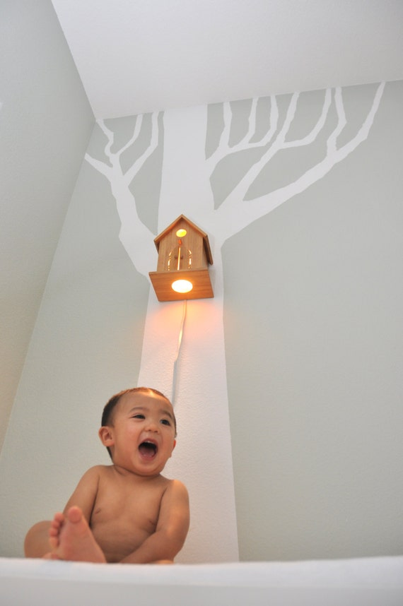 Items similar to Peek-a-Boo Modern Birdhouse Lamp for Baby Nursery Wall Hanging Night Light on Etsy