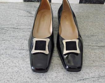 Georgian style black patent shoes