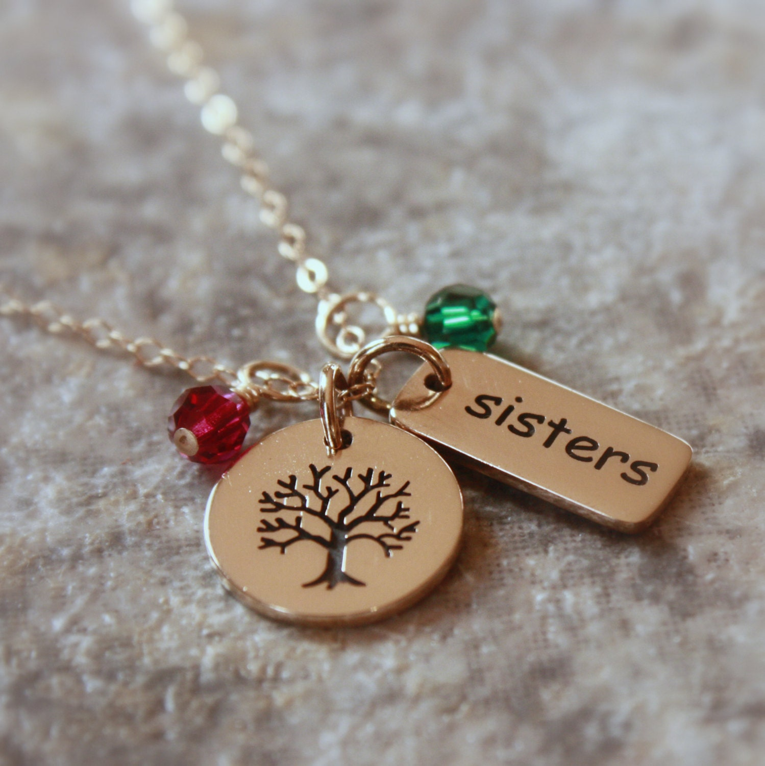 gold sisters necklace personalized jewelry by sevgijewelry. Black Bedroom Furniture Sets. Home Design Ideas