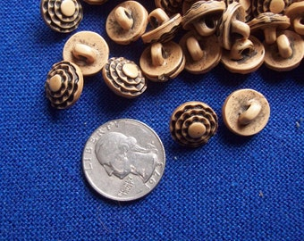 Lovely Four Tiered Half Inch Tan and Black Shank Buttons - Set of 10