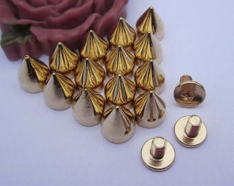 Gold Spike Stud--50pc Gold Metal Spike Bullet Studs with Screwback Rivets--7x9mm