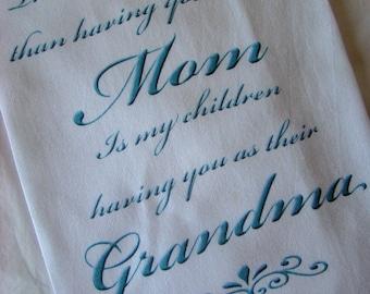 Grandma tea towel - Aqua blue ink - Kitchen flour sack towel - Mothers Day Gift