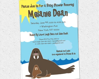 Walrus Baby Shower Invitation, Mom and Baby, Funny and Cute, Arctic, Printable DIY Digital file